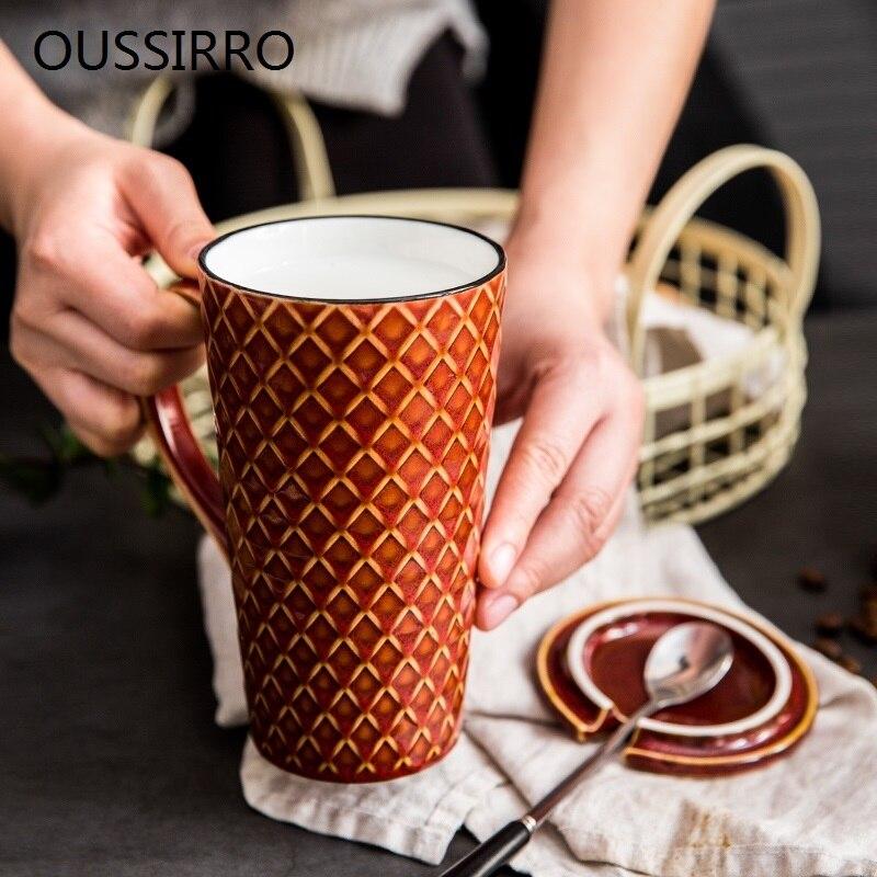 OUSSIRRO 500 ml Europa Retro Caneca de Cerâmica Com Colher de Café Com Tampa Escritório Criativo Escritório Beber Chá Drinkware Casais Presente