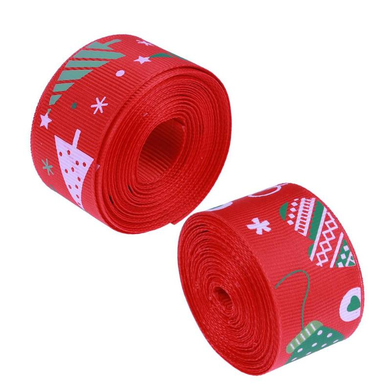 5 Yard Single Sided Printed Christmas Decor Grosgrain Ribbon Snowman Red Party Christmas Decoration Accessories DIY Hair Bows