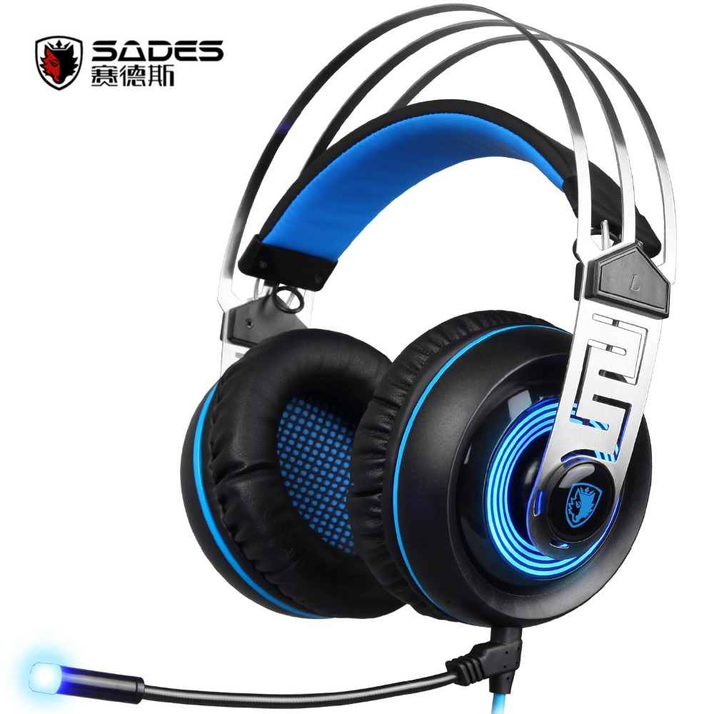New Sades A7 USB Gaming Headset Headphones 7.1 Stereo Surround Sound Earphones Noise Concelling with Mic Led for PC Laptop Gamer