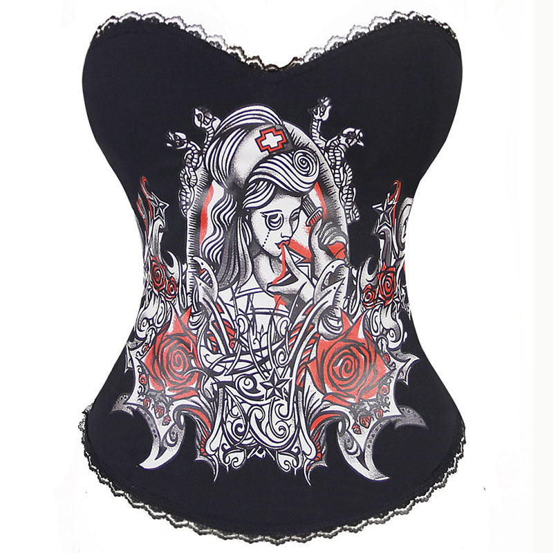 Red Floral & Nurse Vintage Print Black Steampunk   Corsets   And   Bustiers   Halloween   Corset   Sexy Gothic Clothing Burlesque Costumes