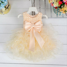 Flower girls wedding dress baby girls christening cake dresses for party occasion kids 1 year baby girl birthday dress