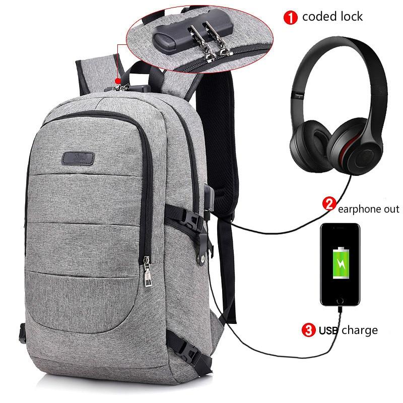 Big Capacity Backpack Women Travel Waterproof School Bags Teenage College Laptop Men Backpack Usb Charge Coded Lock