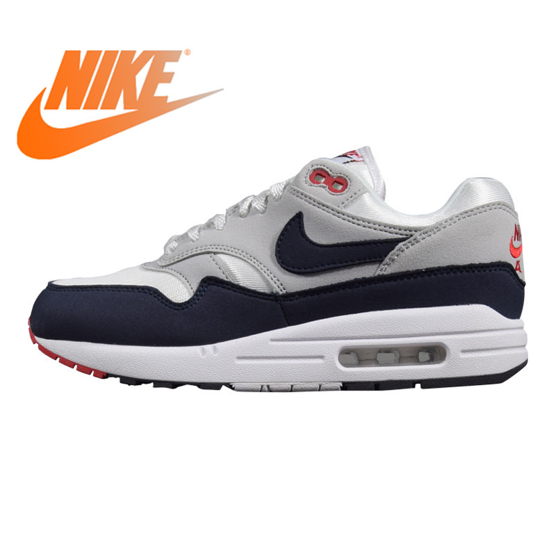 Original Nike Air Max 1 Men's Running Shoes Black&Grey/Grey&Blue Shock absorbing Non slip Lightweight 908375 104 AH8145 102