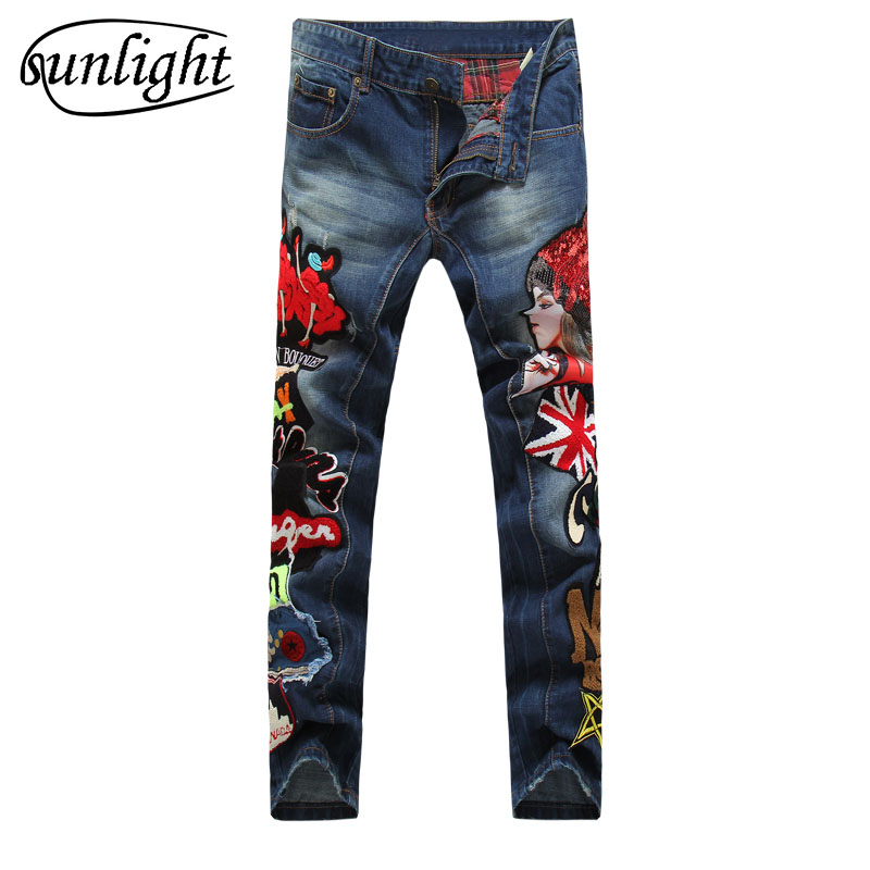 high quality Men jeans Fashion Embroidered Colorful denim Trousers man Famous Brand Casual Pants new cotton zipper cargo pants 17 shark summer new italy classic blue denim pants men slim fit brand trousers male high quality cotton fashion jeans homme 3366