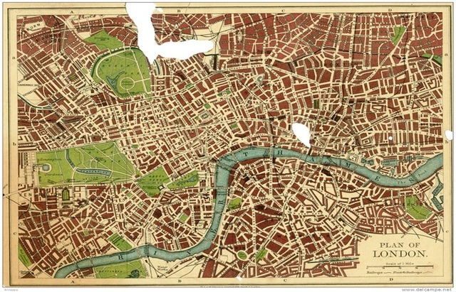Plan of London City Map Classic Vintage Retro Kraft Decorative