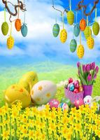 12 ft Vinyl print cloth spring easter photography backdrops for party stage photo studio portrait background F 013