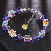 2018 Hot New Fashion Purple\Pink Crystal Beaded Bracelets Women Adjustable Charm Bracelets Wedding Party Jewelry Mujer Pulseras