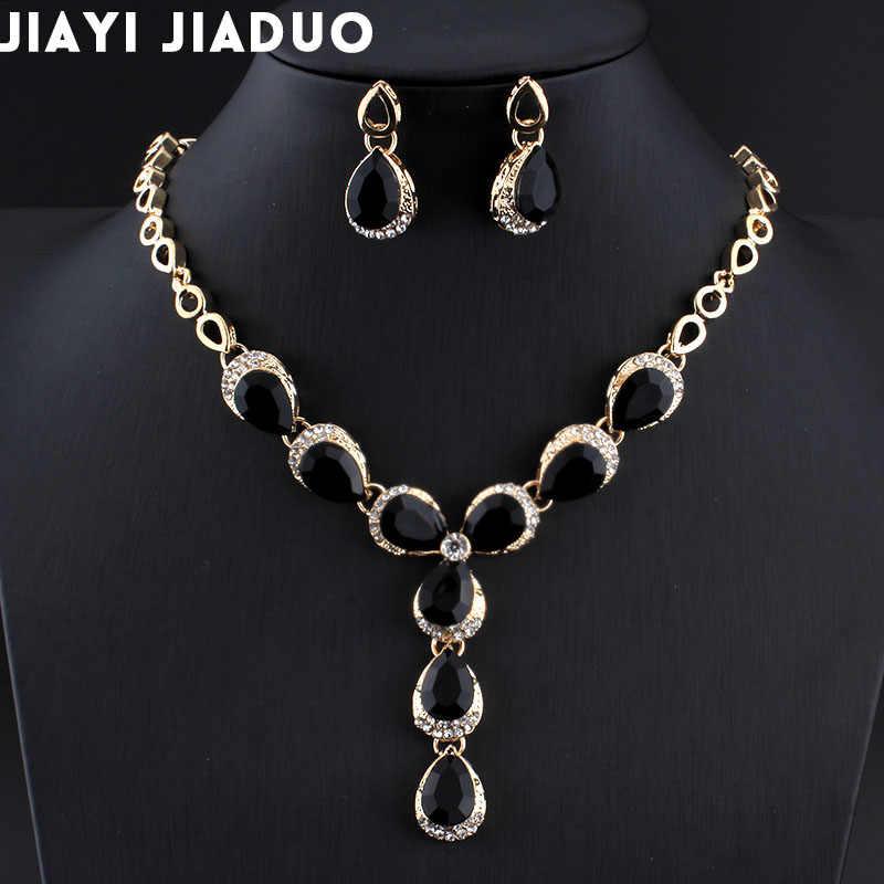 Jiayijiaduo турецких женщин Свадебные украшения Устанавливает различные цвета ожерелье серьги цвет золотистый черный капли воды полимерного материала