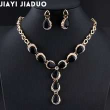 jiayijiaduo Turkish women wedding jewelry sets A variety of colors necklace earrings gold color Black water drop resin material(China)