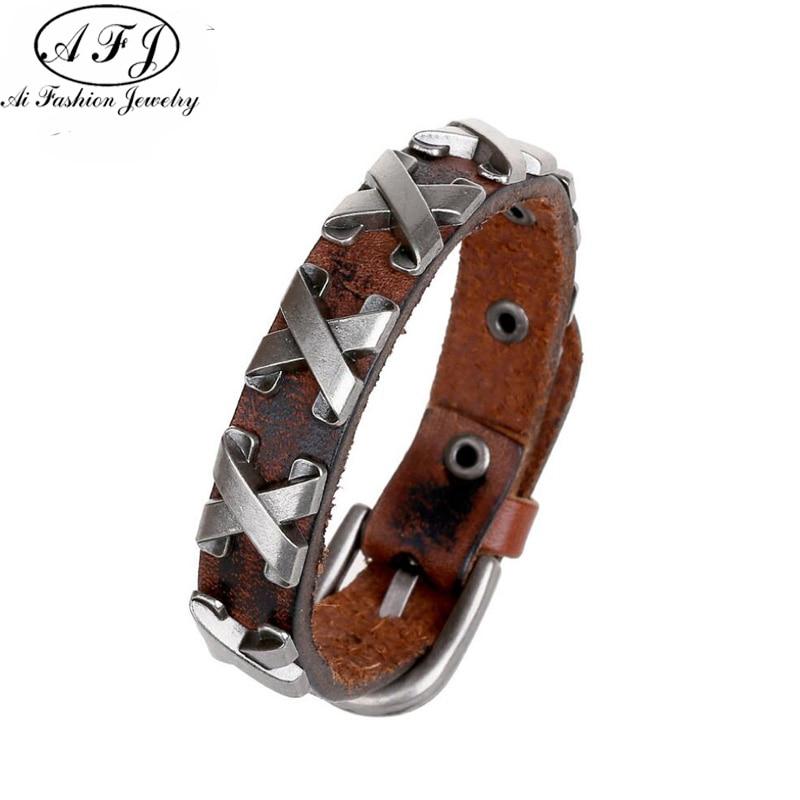 Leather Thick Male Bracelet Metal Cross Rivets Studded Belt Cuff Bracelets Bangles For Women Men Single Buckle Pulseras Hombre