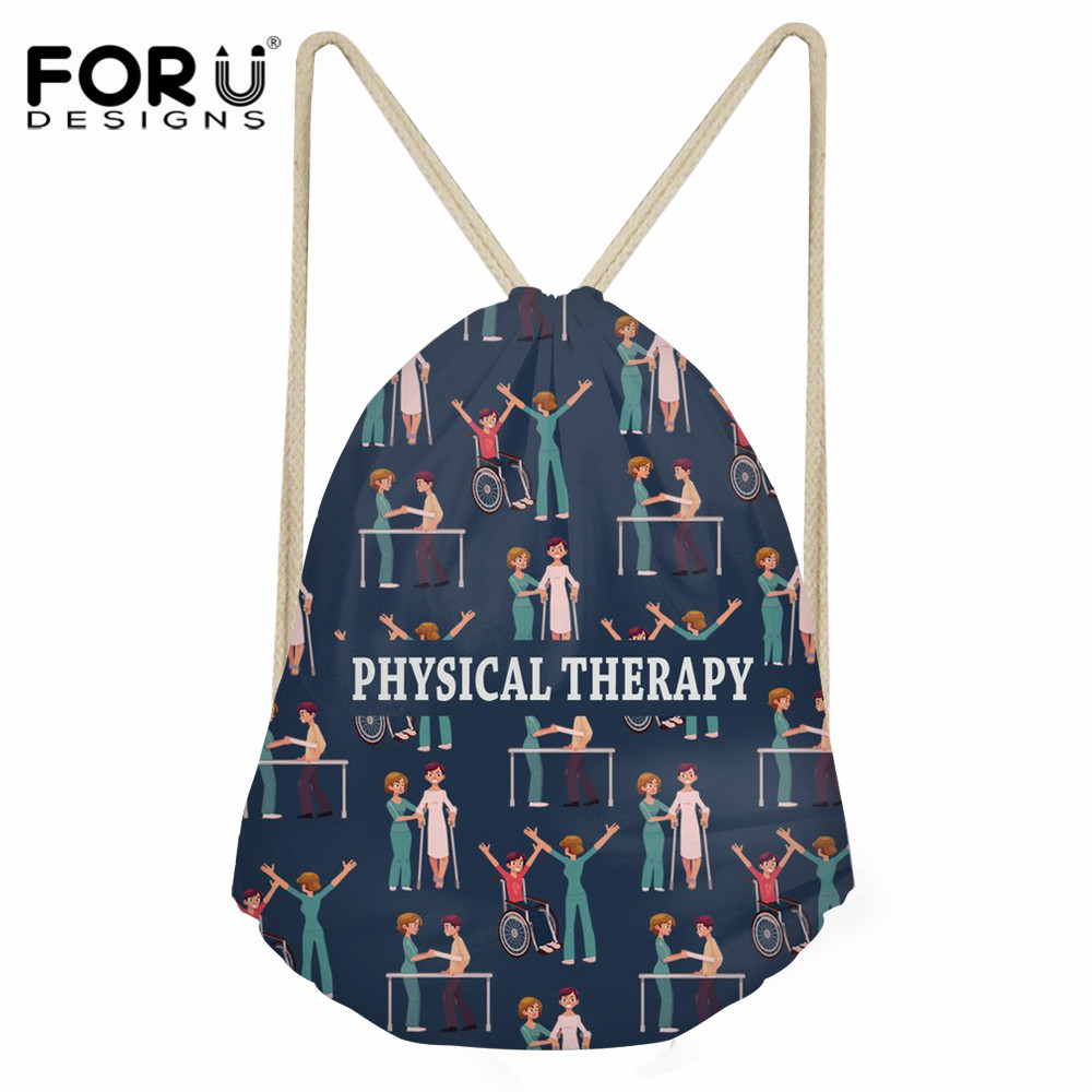FORUDESIGNS Physical Therapy Pattern Travel Drawstring Bag Women Daily Shoes Storage Bag Girls Fashion Girls String Backpack