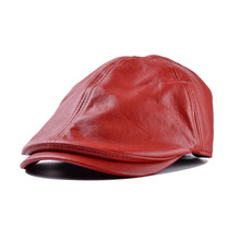 PU Visor Men Women Vintage Leather Beret Caps Beret Cabbie G
