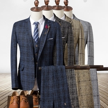 2018 Autumn Men's Plaid Suit Jackets with Suit Vests and Suit Trousers 4 Colors Choose Men Blazers with Waistcoat and Pants(China)