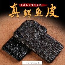 Wangcangli جلد التمساح الحقيقي 3 أنواع من الأساليب نصف حزمة جراب هاتف آيفون 5 جميع اليدوية يمكن تخصيص النموذج