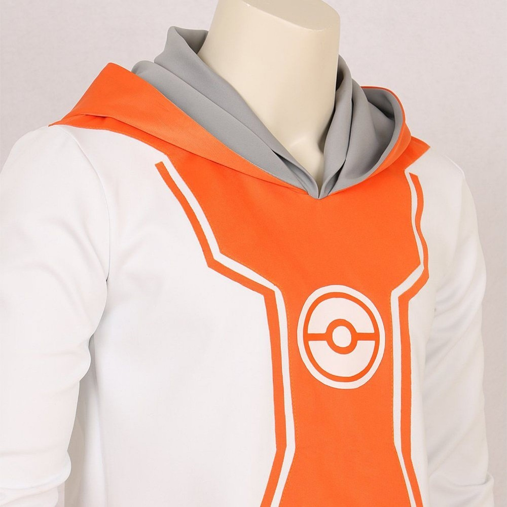 Pocket Monster Trainer Orange Hoodie Hooded Jacket Sweater Suit Pokemon Go logo Team Cosplay Costume Male Female S-XXL