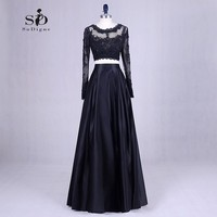 Elegant Black 2 Piece Lace Satin Long Sleeve Prom Dresses 2016 Sexy Sheer Neck Formal Party
