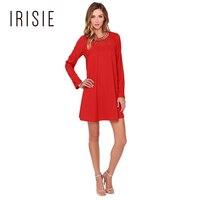 IRISIE Apparel Red Metallic Collar Casual Mini Dress Women Clothing Black Back Button Loose Vestido Sheer Sexy Female Dress
