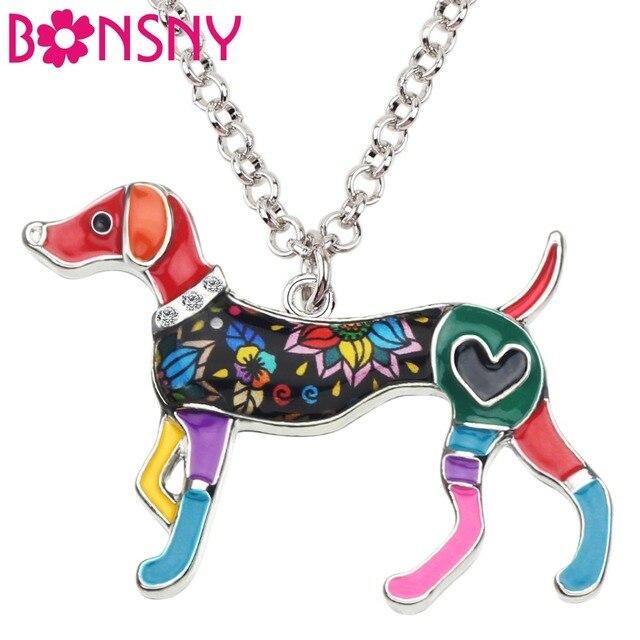 Bonsny הצהרת אמייל סגסוגת אלגנטי ויפט כלב שרשרת תליון צווארון קריקטורה בעלי החיים תכשיטי עבור נשים בנות בני נוער אבזר