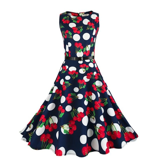 KLV Women Dresses Summer Fruits Dot Print O-Neck Dress with Belt Sleeveless Casual Ladies Dresses 18May31