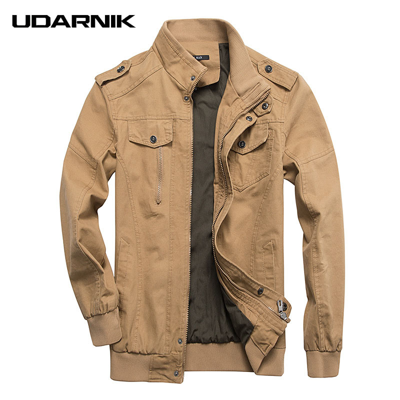 Men Army Green Military Jackets Cotton Solid Zipper Coats Long Sleeve Button Stand Collar Plus Size M 6XL Outwear 223 472