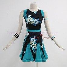 New latin dance costumes senior sexy printing sleeveless latin dance dress for women latin dance competition dresses S-4XL