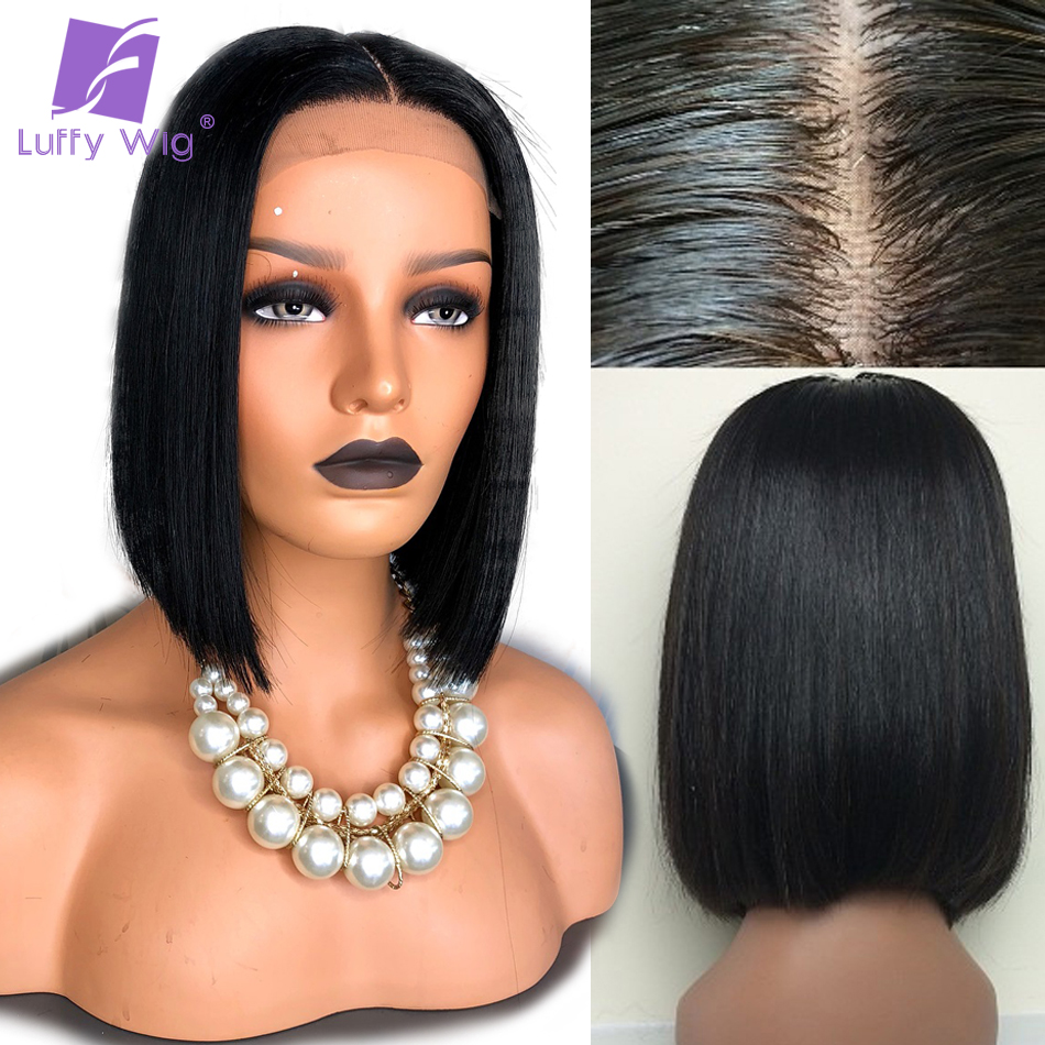 Luffy Silky Straight Kort Bob Silk Base Full Lace Mänskliga Hårperor Med Babyhår Brazilian Non-Remy Natural Color 130% Täthet