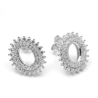 925 Sterling Silver Micro Pave Zircon Stone Round Earring Tray Cabochon Base Setting For Gemstone Stud