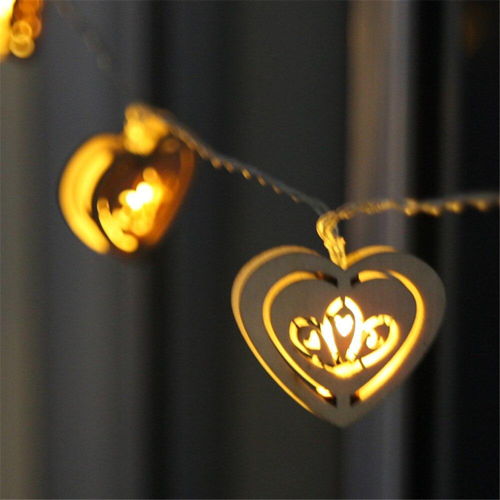 5 м 38 светодиодов праздник света деревянный в форме сердца Свет Строка ЕС Plug теплый белый Многоцветный Xmas Гирлянда новогодняя фея Декор DA