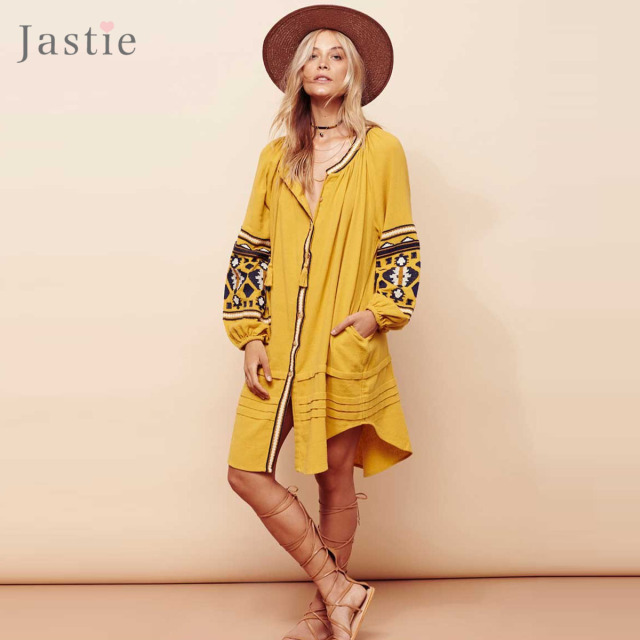 Jastie старинные вышивки boho dress плюс размер женщины платья фонарь рукав потерять пляж мини dress chic повседневная feminino vestidos