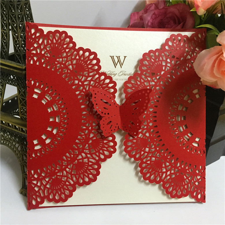Us 82 0 Chinese Wedding Invitations Handmade Lace Invitation Cards With Ribbon In From Home Garden On Aliexpress