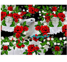 rose diamond painting full square dove of peace wall art bird decor scenery diamond embroidery sticker diamont mosaic picture(China)