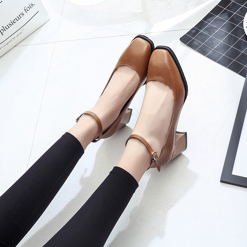 2017 spring square toe thick heel single shoes female button black all-match vintage shallow mouth with the women's shoes стоимость