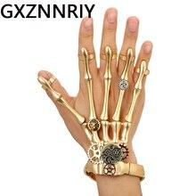 Fashion Gold Punk Bracelets Bangles for Women Accessories Skull Skeleton Hand Elastic Steampunk Bracelet Bangle Men Jewelry Gift недорого