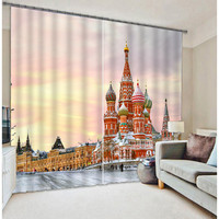 Winter Red Castle Window Curtains Thick Backout Office Home Decoration Room Curtain Customized Size Available