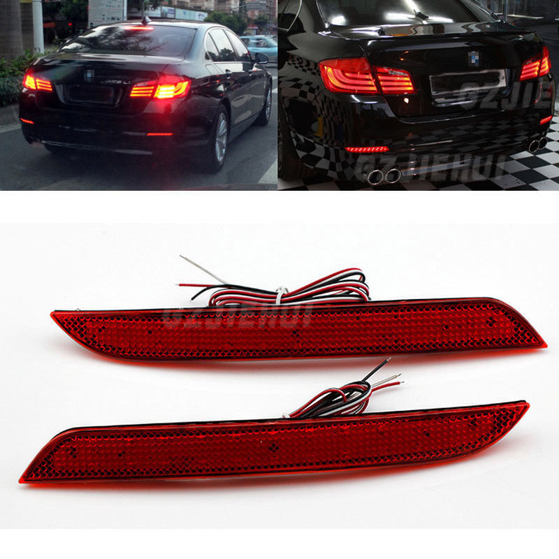 For BMW 5 series 2011-14 F10 F11 F18 Tail LED Light Bumper Reflector Red Lens Brake Lamp