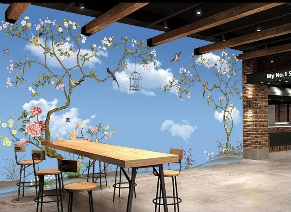 Пользовательские 3d обои голубое небо и белые облака Дерево Птица индивидуальные обои для росписи стен 3d обои - 2