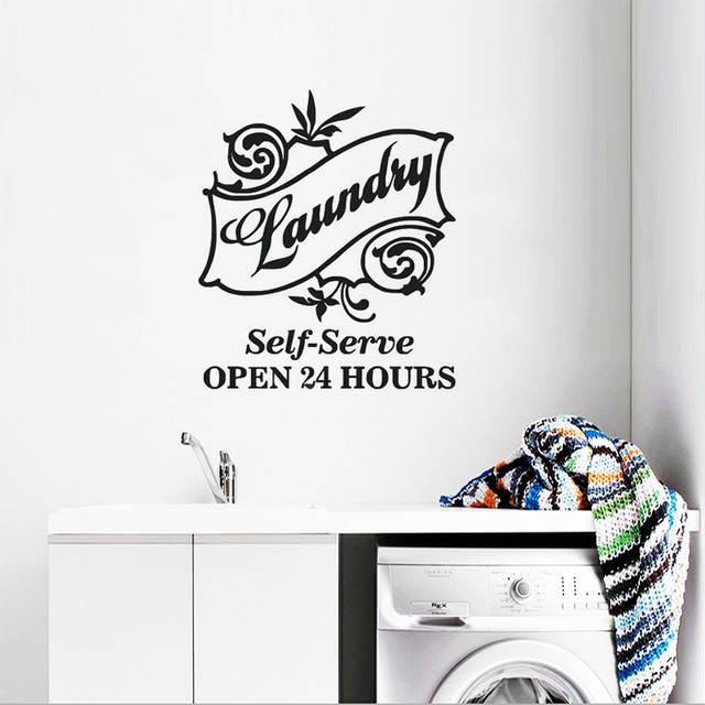 Muursticker Zelf Ontwerpen.Us 6 4 26 Off Nieuwe Ontwerp Laundry Room Muursticker Zelf Dienen Logo Muurtattoo Laundry Room Decor Open 24 Uur Muur Poster Vinyl Art Ay1526 In