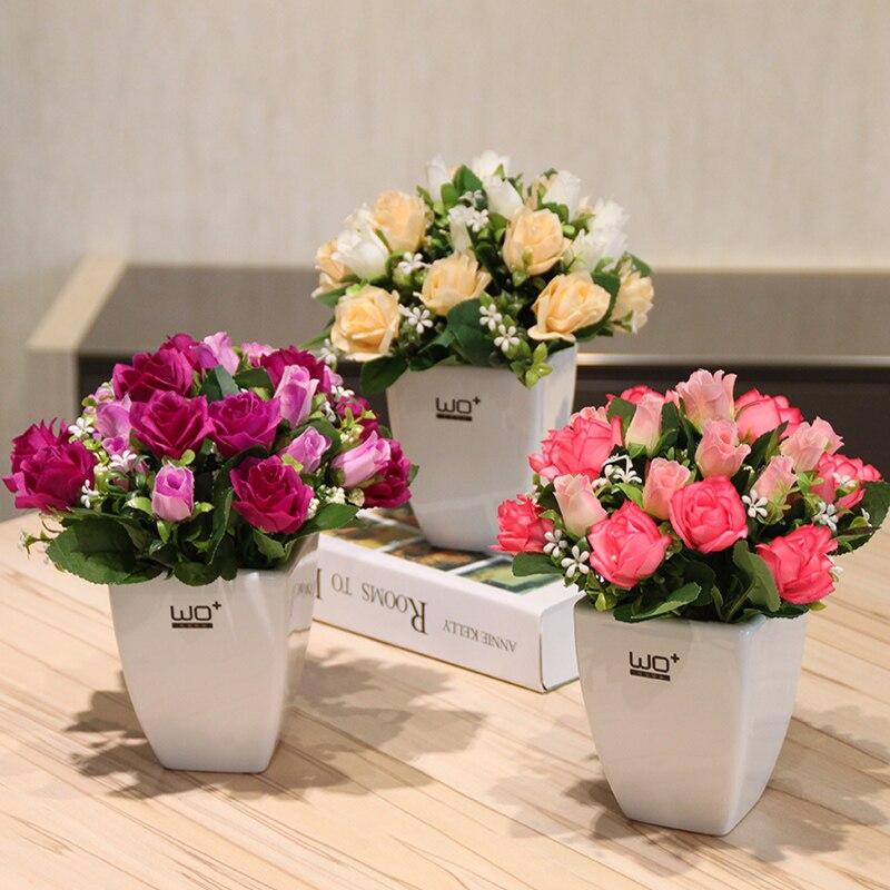 Fleurs artificielles roses bourgeon bonsaï ensemble fleur de soie artificielle en céramique tissage panier vases maison mariage décoration accessoires