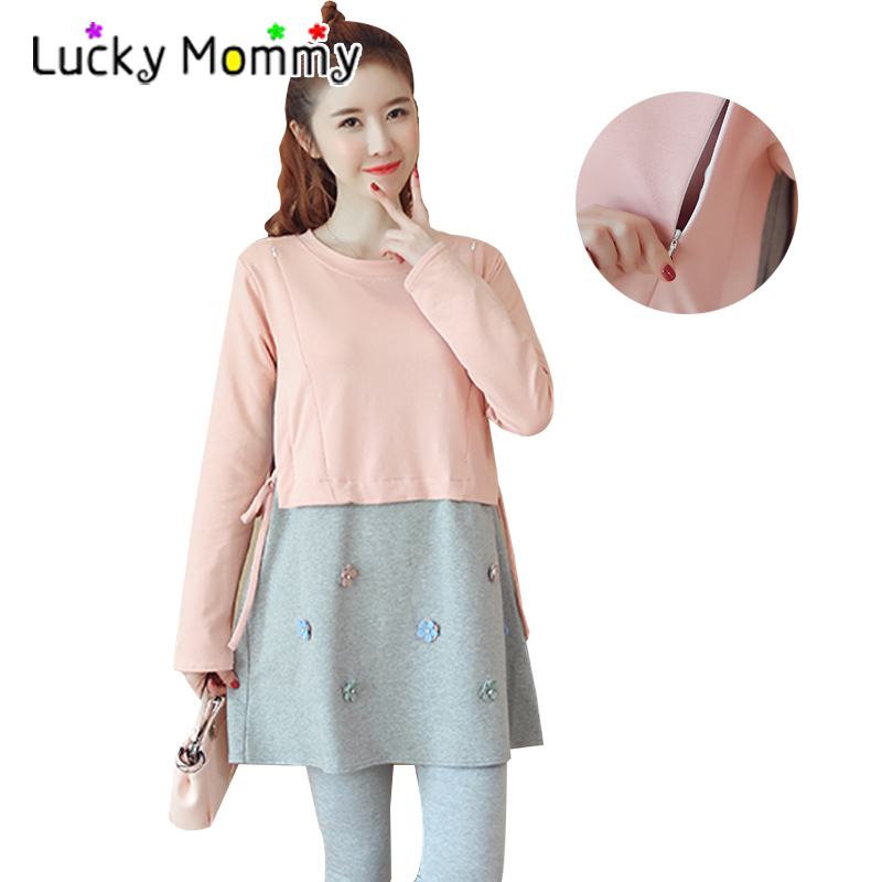 2018 New Spring Cotton Long-sleeved False Two Piece Maternity Nursing Clothes Breastfeeding Tops T shirts Pregnancy T-shirts fashion cotton padded maternity shirts autumn winter fashion thick knitted long sleeve pregnancy tops loose maternity clothes