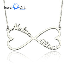 Personalised Title Necklace Double Coronary heart 925 Sterling Silver Customise Necklaces & Pendants DIY Birthday Present (JewelOra NE101372)