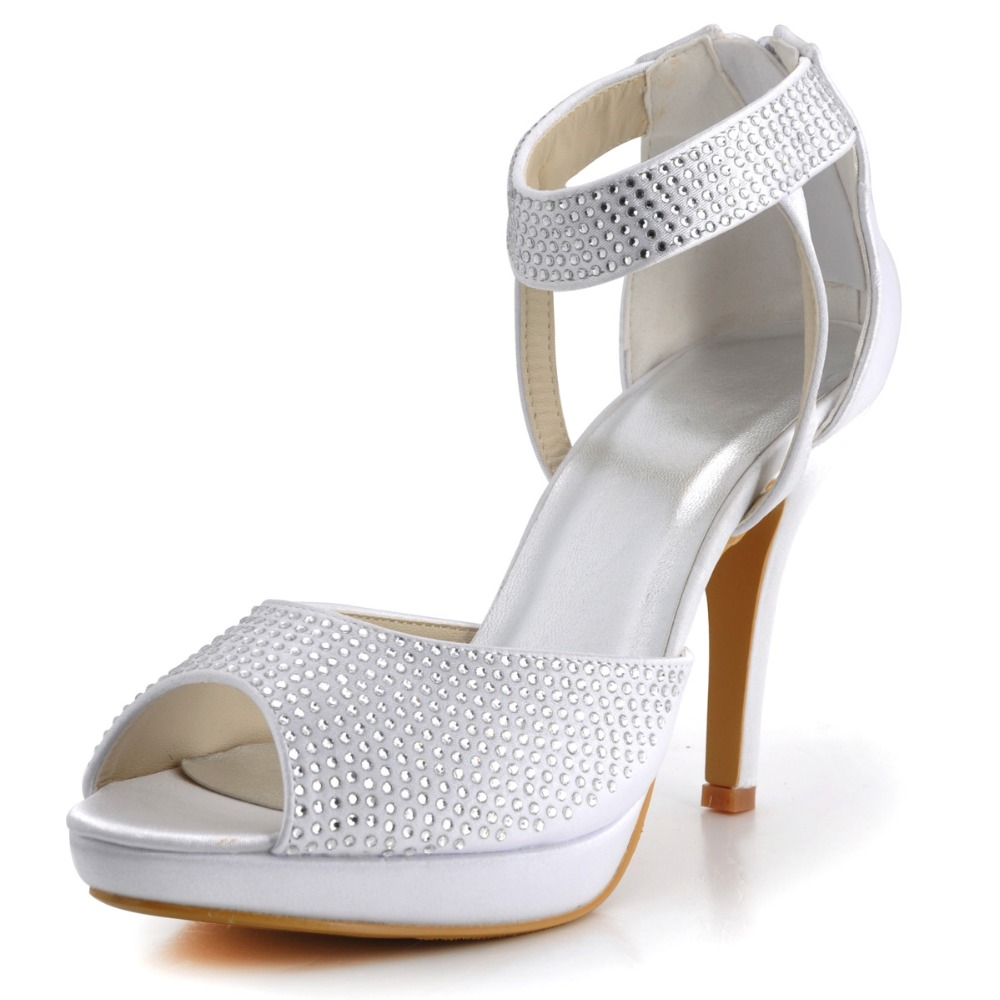 ФОТО EP2059-PF White Ivory Women Bride Peep Toe Bridal Party Prom Pumps Heels Lady Satin Buckle Zipper Sandal Wedding Shoes EU35-42