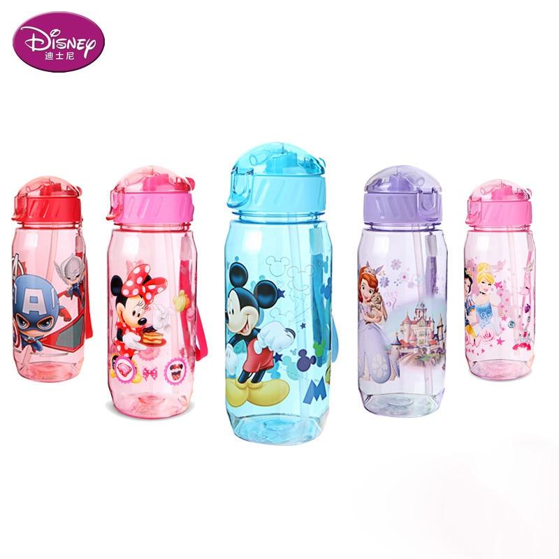 Disney 450 ml bebê minnie mickey copo de alimentação com palha dos desenhos animados neve branco esportes garrafa de água