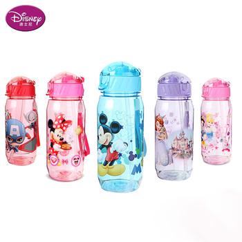 Disney 450 ML Baby Minnie Mickey karmienie kubek ze słomką Cartoon śnieżka sportowa butelka na wodę tanie i dobre opinie Z tworzywa sztucznego 450ml Drinkware Dzieci blue