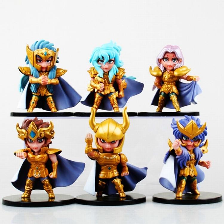 2016 NEW hot 10cm 6pcs/set Q version Saint Seiya soul of gold Shiryu Shun Hyoga Ikki Nendoroid Mini Action figure toys Christmas toy with box