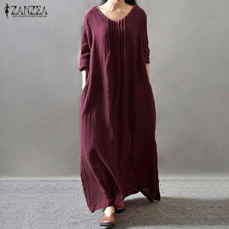 Kvinder Elegant Kjole 2018 ZANZEA Efterår V Nakke Langærmet - Dametøj - Foto 3