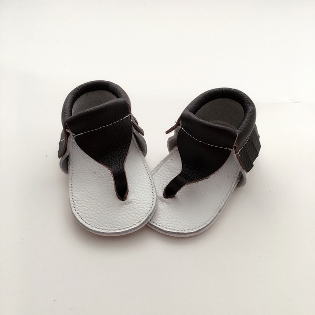 Handmade Black & White Couro Genuíno Do Bebê Primeiros Caminhantes sapato Infantil Verão