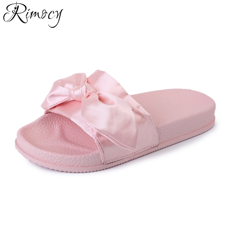 Rimocy sweet bowtie summer women slippers soft sole comfortbale flat heels sandals shoes woman beach casual slides flip flops