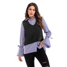 YYFS 2019 New Spring Autumn Knitting Vest for Women Cotton V-neck Sleeveless Knit Loose Female Outerwear Waistcoat High Quality black high neck knit vest