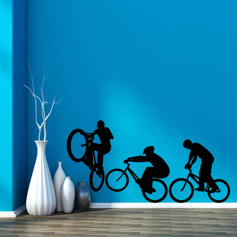 Wall Decal Sport Bicycle Bike Cyclists Extreme Sports Home Accessories House Room Decoration Living Room Wall Sticker Decor F108