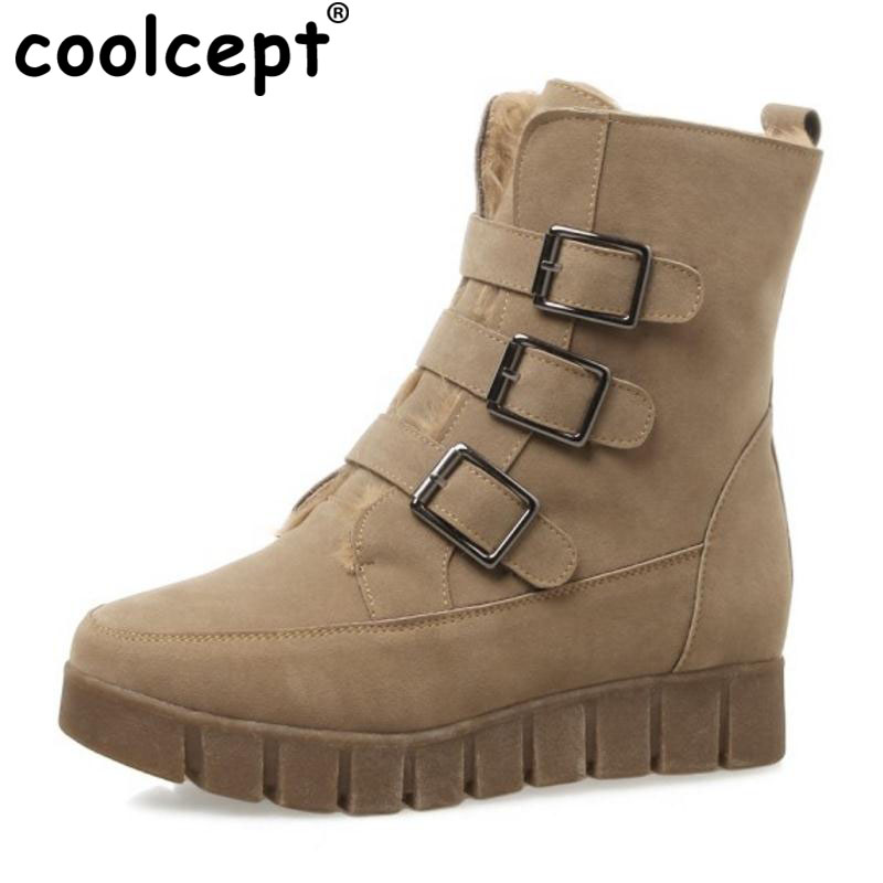 Coolcept Plus Size 34-43 Snow Boots Buckle Mid Calf New Boots Short Barrel Matte Leather Platform Women Winter Warm Footwear zippers double buckle platform mid calf boots